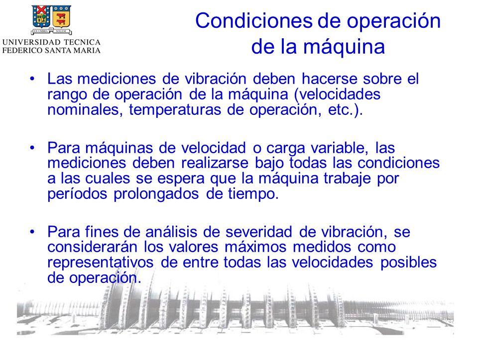 Condiciones de operación de la máquina Las mediciones de vibración deben hacerse sobre el rango de operación de la máquina (velocidades nominales, temperaturas de operación, etc.).