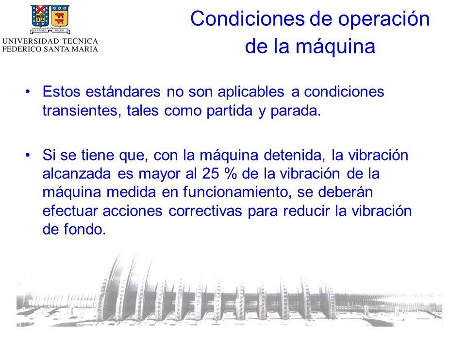 Condiciones de operación de la máquina Estos estándares no son aplicables a condiciones transientes, tales como partida y parada.