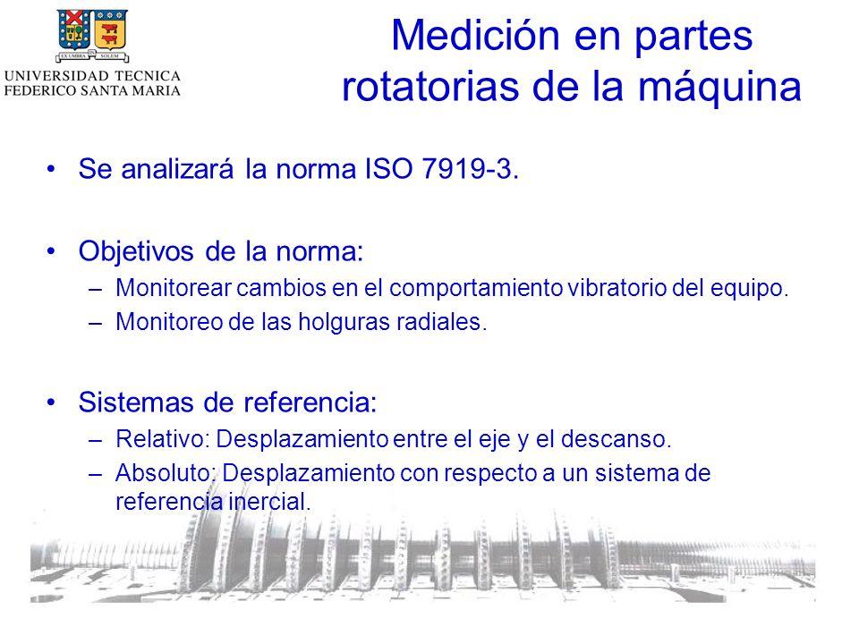Medición en partes rotatorias de la máquina Se analizará la norma ISO 7919-3.