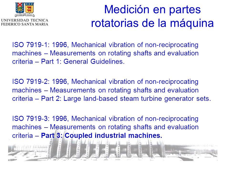 Medición en partes rotatorias de la máquina ISO 7919-1: 1996, Mechanical vibration of non-reciprocating machines – Measurements on rotating shafts and evaluation criteria – Part 1: General Guidelines.