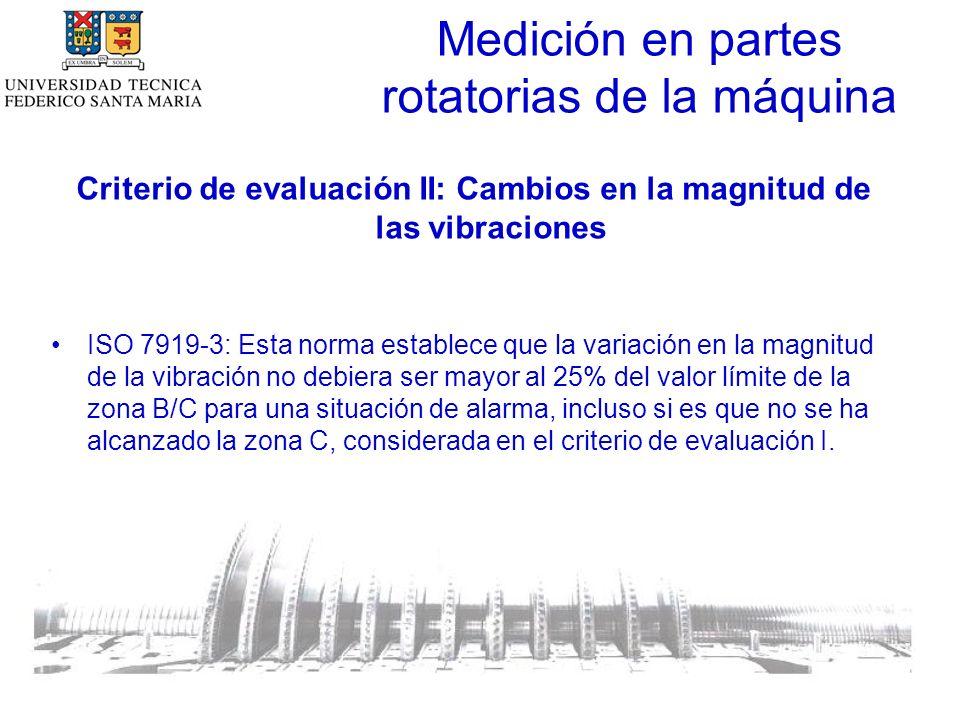 Medición en partes rotatorias de la máquina Criterio de evaluación II: Cambios en la magnitud de las vibraciones ISO 7919-3: Esta norma establece que la variación en la magnitud de la vibración no debiera ser mayor al 25% del valor límite de la zona B/C para una situación de alarma, incluso si es que no se ha alcanzado la zona C, considerada en el criterio de evaluación I.