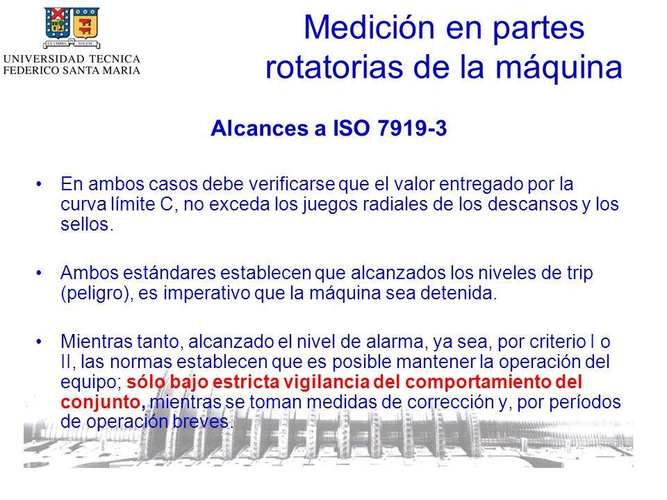 Medición en partes rotatorias de la máquina Alcances a ISO 7919-3 En ambos casos debe verificarse que el valor entregado por la curva límite C, no exceda los juegos radiales de los descansos y los sellos.
