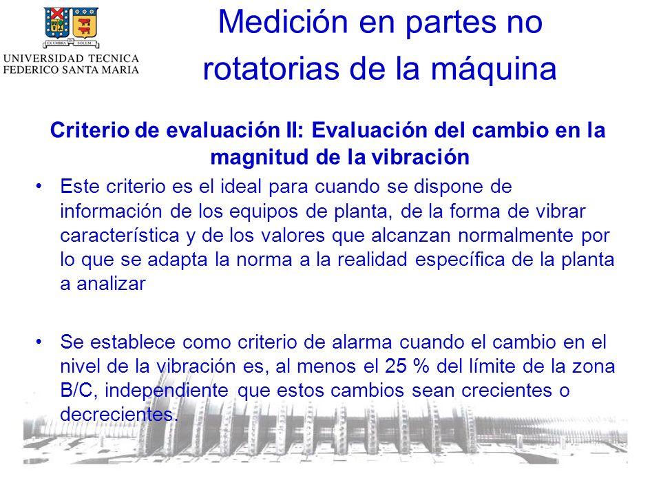 Criterio de evaluación II: Evaluación del cambio en la magnitud de la vibración Este criterio es el ideal para cuando se dispone de información de los equipos de planta, de la forma de vibrar característica y de los valores que alcanzan normalmente por lo que se adapta la norma a la realidad específica de la planta a analizar Se establece como criterio de alarma cuando el cambio en el nivel de la vibración es, al menos el 25 % del límite de la zona B/C, independiente que estos cambios sean crecientes o decrecientes.
