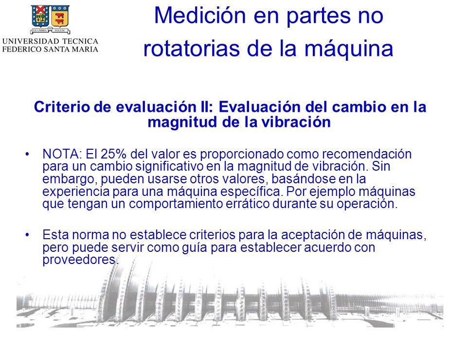 Criterio de evaluación II: Evaluación del cambio en la magnitud de la vibración NOTA: El 25% del valor es proporcionado como recomendación para un cambio significativo en la magnitud de vibración.