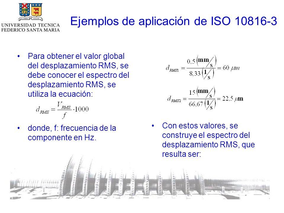Ejemplos de aplicación de ISO 10816-3 Para obtener el valor global del desplazamiento RMS, se debe conocer el espectro del desplazamiento RMS, se utiliza la ecuación: donde, f: frecuencia de la componente en Hz.
