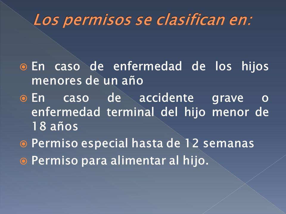 En caso de enfermedad de los hijos menores de un año En caso de accidente grave o enfermedad terminal del hijo menor de 18 años Permiso especial hasta