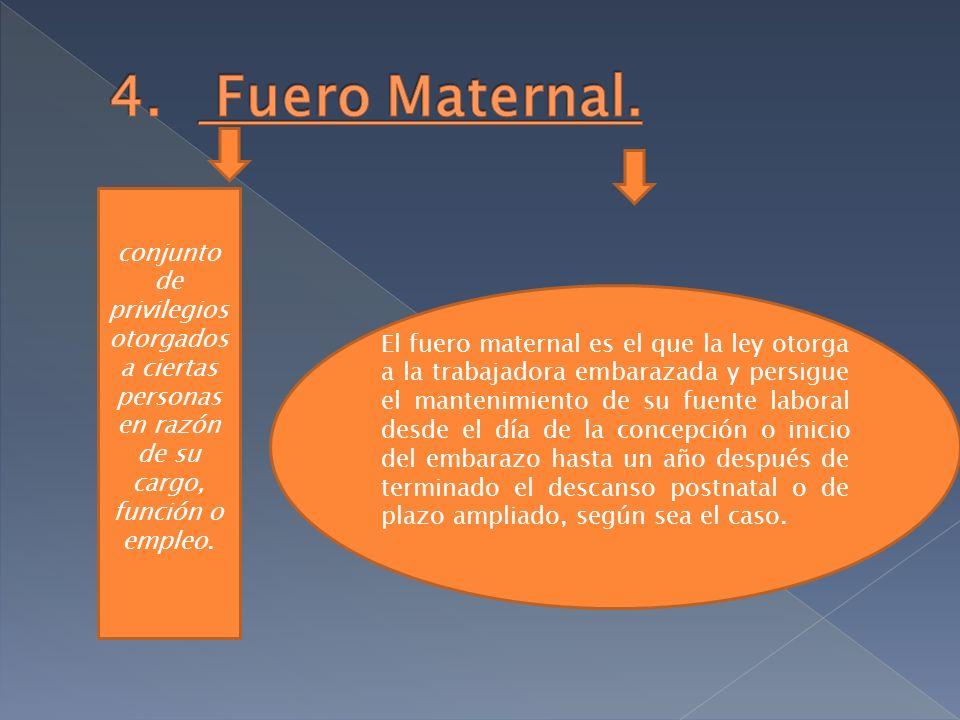 El fuero maternal es el que la ley otorga a la trabajadora embarazada y persigue el mantenimiento de su fuente laboral desde el día de la concepción o