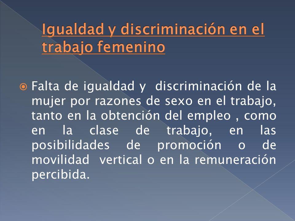 Falta de igualdad y discriminación de la mujer por razones de sexo en el trabajo, tanto en la obtención del empleo, como en la clase de trabajo, en la