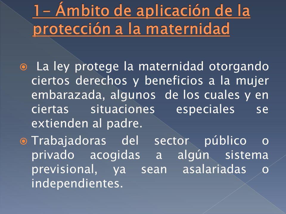 La ley protege la maternidad otorgando ciertos derechos y beneficios a la mujer embarazada, algunos de los cuales y en ciertas situaciones especiales