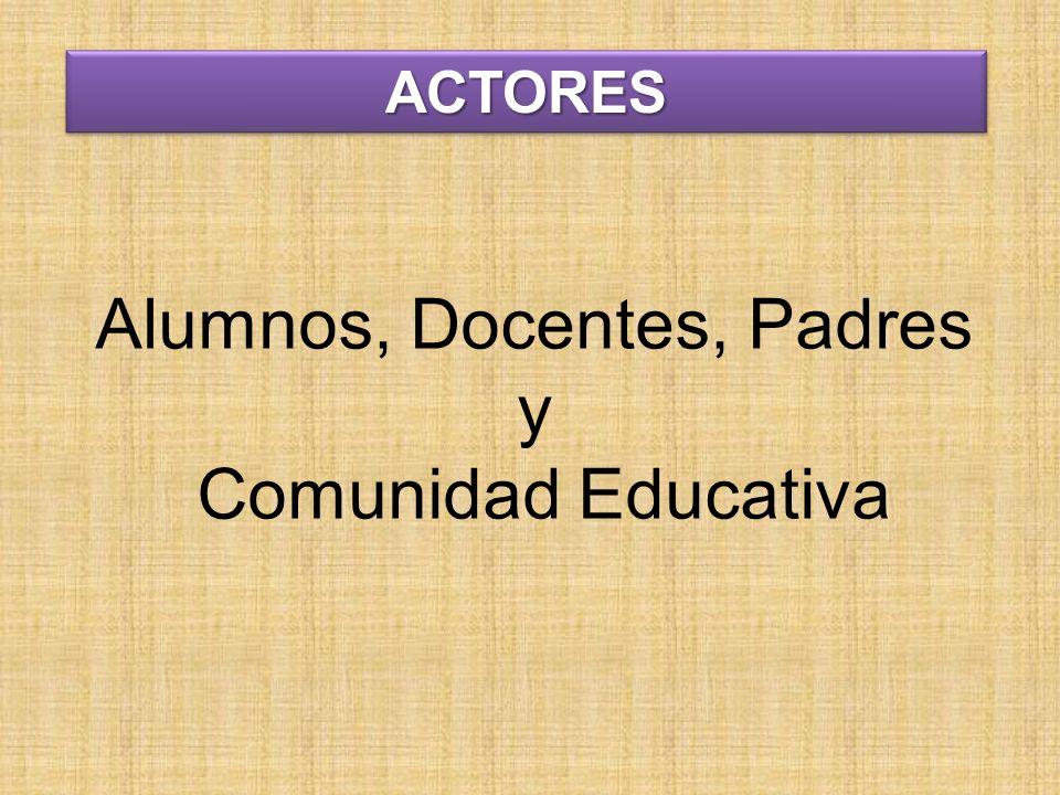 Alumnos, Docentes, Padres y Comunidad Educativa ACTORESACTORES