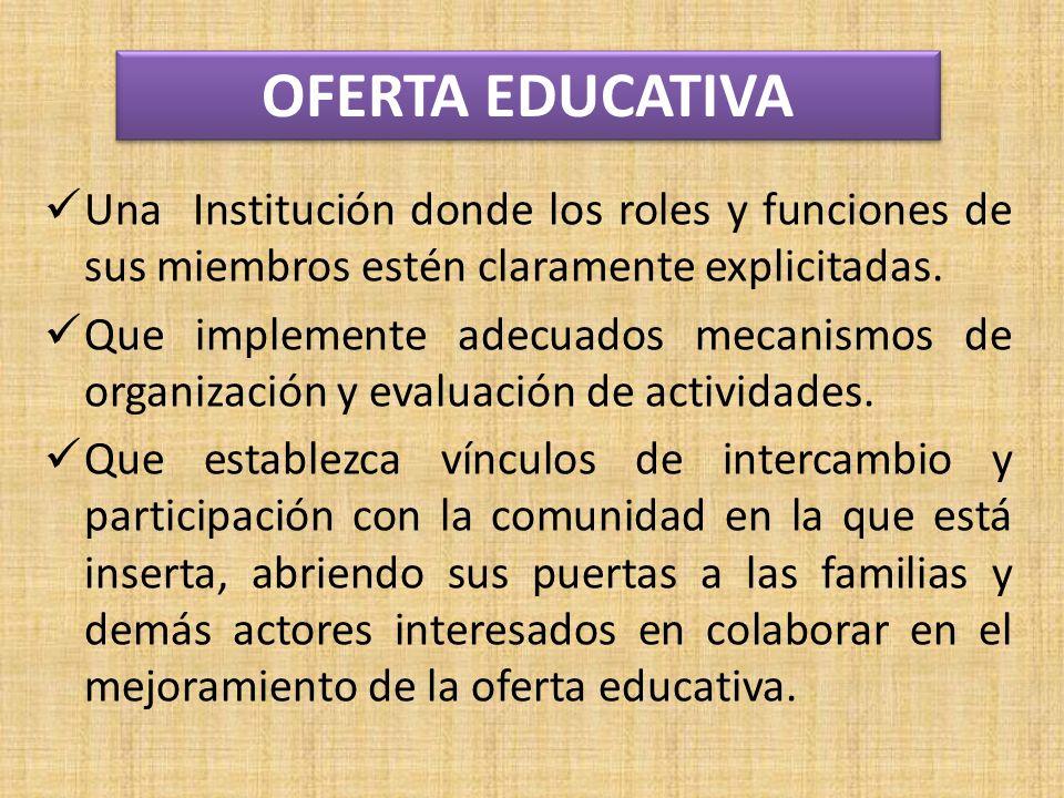 Una Institución donde los roles y funciones de sus miembros estén claramente explicitadas.