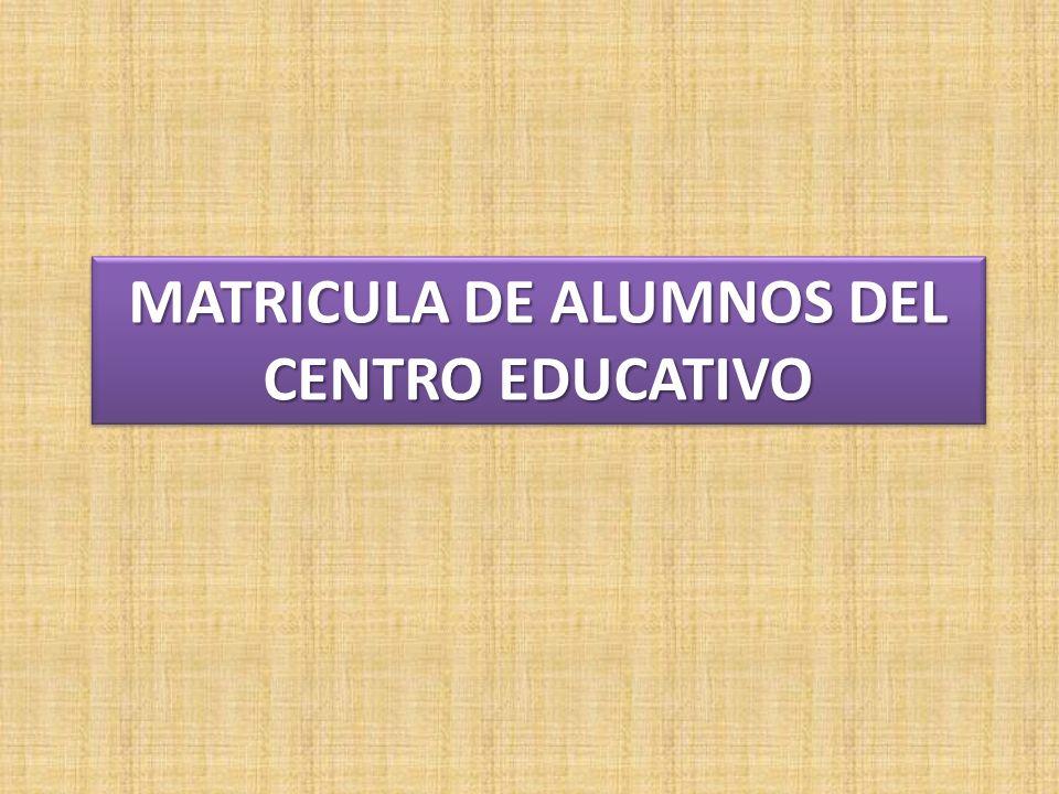 MATRICULA DE ALUMNOS DEL CENTRO EDUCATIVO