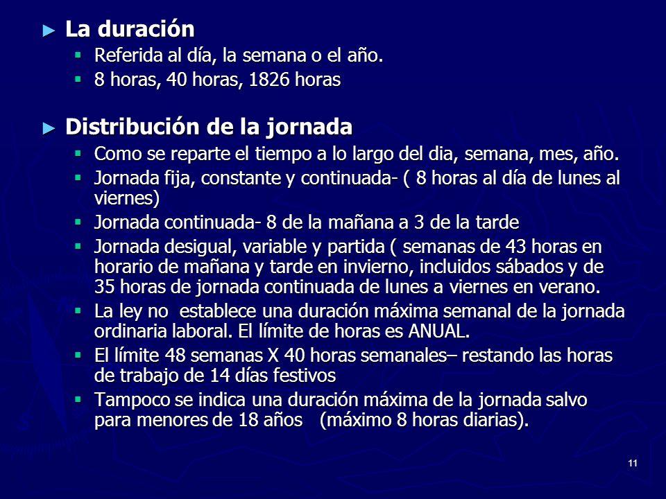 11 La duración La duración Referida al día, la semana o el año. Referida al día, la semana o el año. 8 horas, 40 horas, 1826 horas 8 horas, 40 horas,