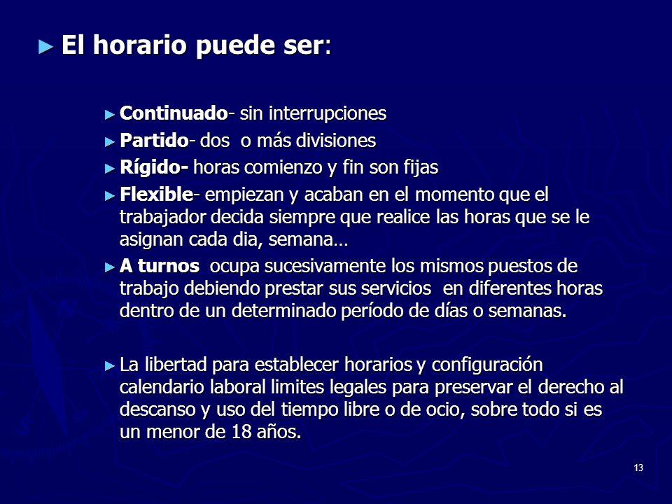 13 El horario puede ser: El horario puede ser: Continuado- sin interrupciones Continuado- sin interrupciones Partido- dos o más divisiones Partido- do