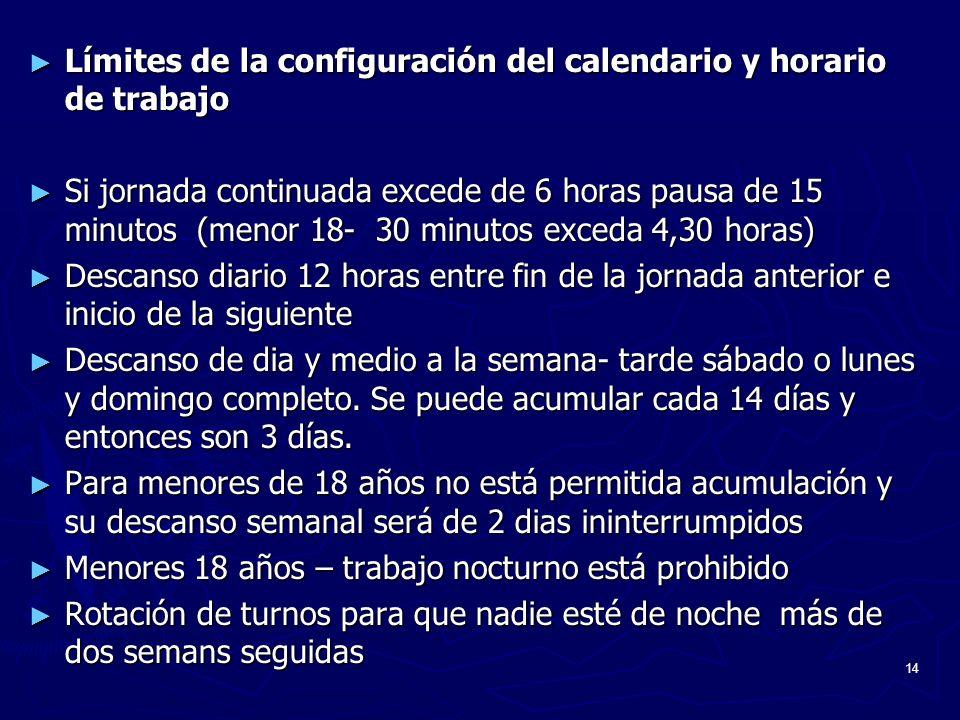 14 Límites de la configuración del calendario y horario de trabajo Límites de la configuración del calendario y horario de trabajo Si jornada continua