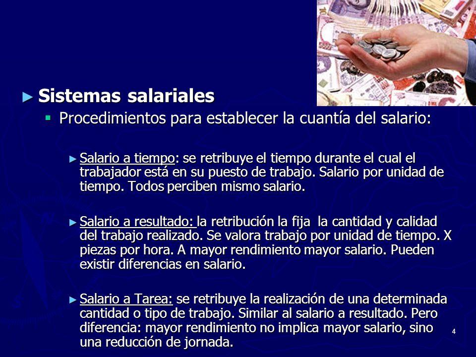 4 Sistemas salariales Sistemas salariales Procedimientos para establecer la cuantía del salario: Procedimientos para establecer la cuantía del salario