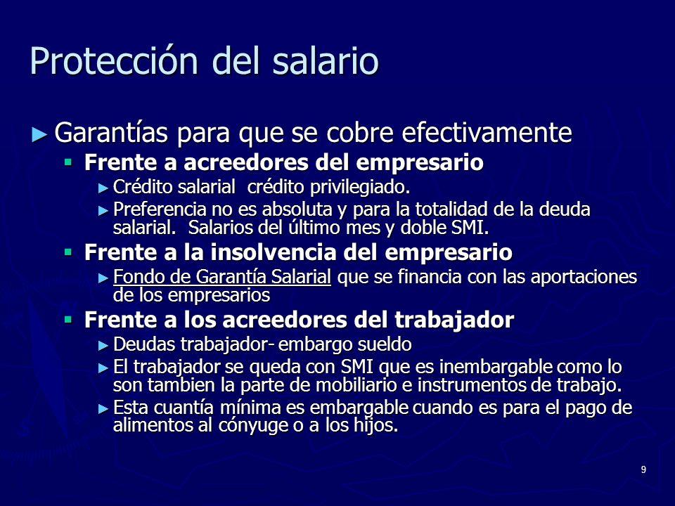 9 Protección del salario Garantías para que se cobre efectivamente Garantías para que se cobre efectivamente Frente a acreedores del empresario Frente