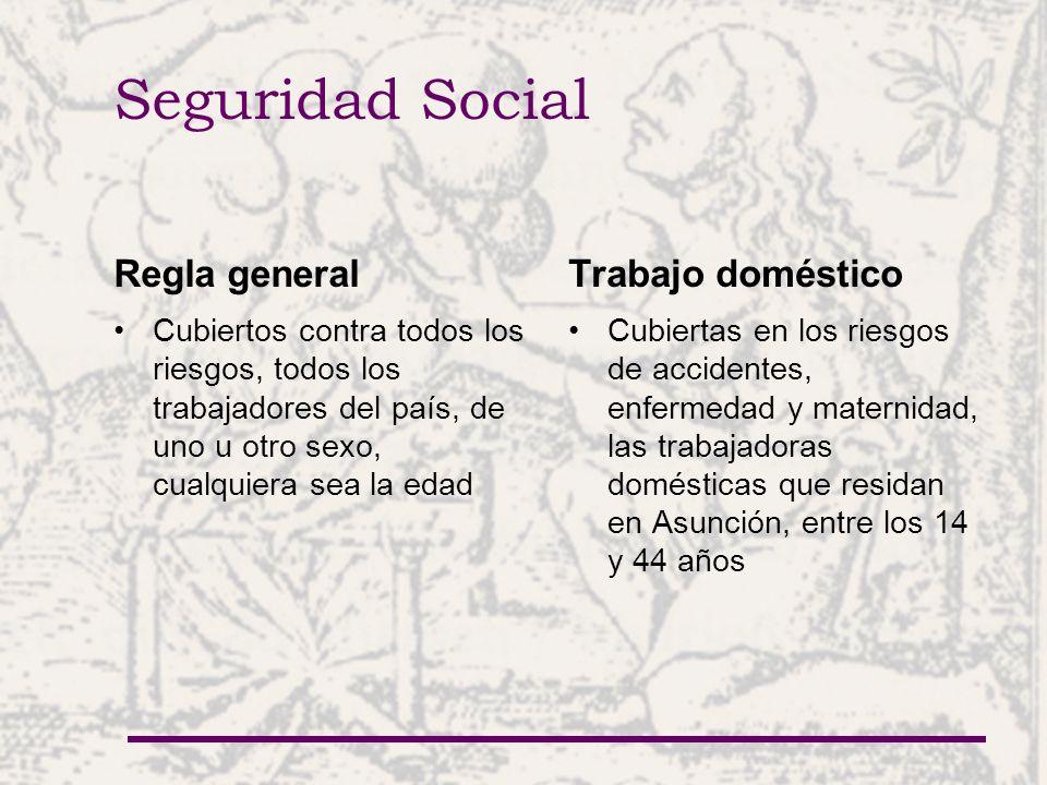Seguridad Social Regla general Cubiertos contra todos los riesgos, todos los trabajadores del país, de uno u otro sexo, cualquiera sea la edad Trabajo