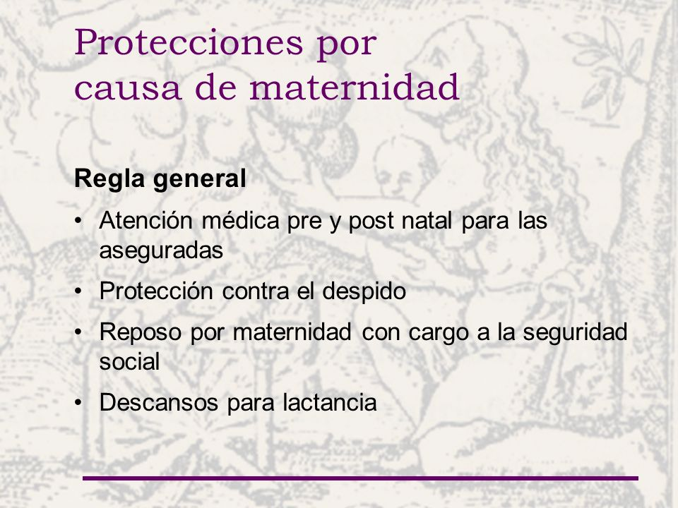 Protecciones por causa de maternidad Regla general Atención médica pre y post natal para las aseguradas Protección contra el despido Reposo por maternidad con cargo a la seguridad social Descansos para lactancia