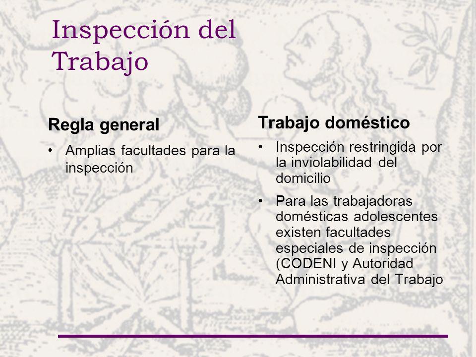 Inspección del Trabajo Regla general Amplias facultades para la inspección Trabajo doméstico Inspección restringida por la inviolabilidad del domicili