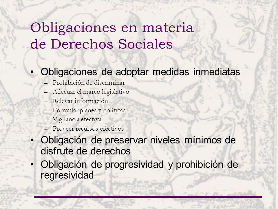 Obligaciones en materia de Derechos Sociales Obligaciones de adoptar medidas inmediatas –Prohibición de discriminar –Adecuar el marco legislativo –Rel