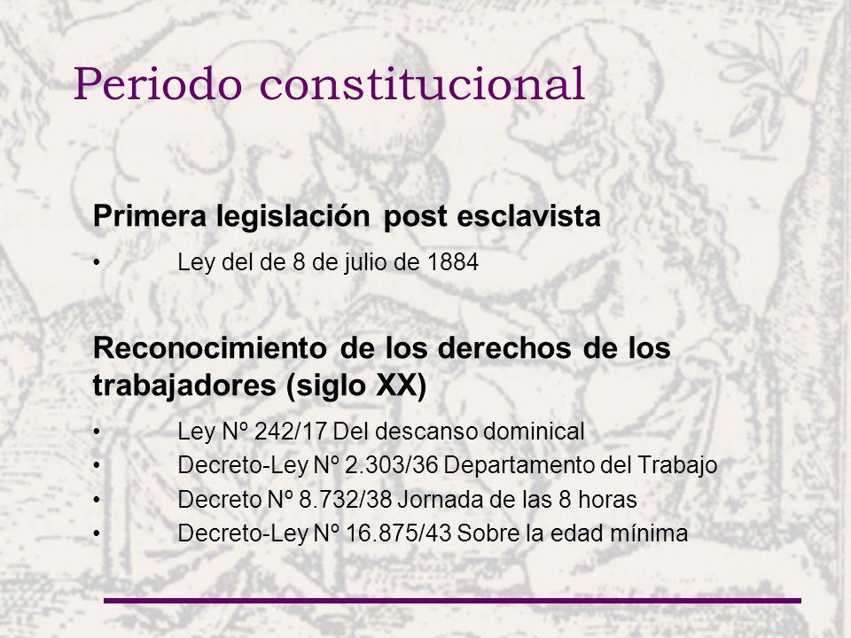 Periodo constitucional Codificación Código Laboral de 1961 (derogado) Código del Menor de 1981 (derogado) Código Procesal Laboral (Ley Nº 742/61, vigente) Código Laboral (Ley Nº 213/93 y modificaciones de las Leyes Nº 496/95 y 1.416/99) Código de la Infancia y la Adolescencia (Ley Nº 1.680/01) Ley del Instituto de Previsión Social (modificaciones de Leyes Nº 1.085/65 y 98/92)
