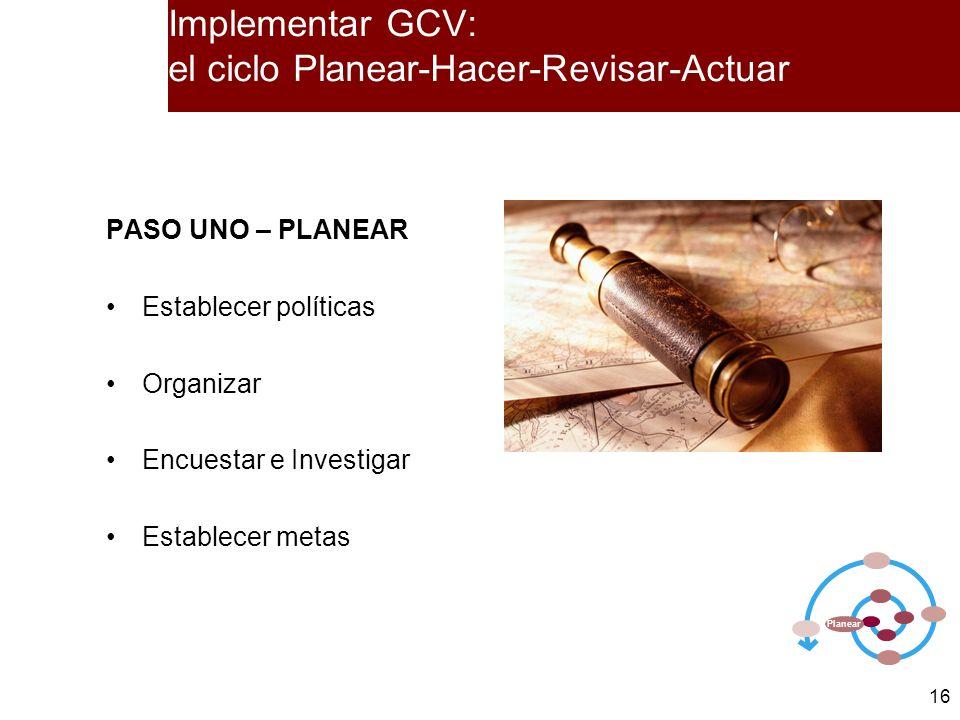 16 PASO UNO – PLANEAR Establecer políticas Organizar Encuestar e Investigar Establecer metas Planear Implementar GCV: el ciclo Planear-Hacer-Revisar-A