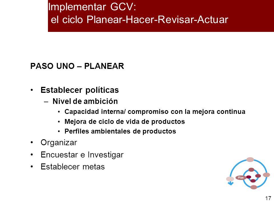 17 PASO UNO – PLANEAR Establecer políticas –Nivel de ambición Capacidad interna/ compromiso con la mejora continua Mejora de ciclo de vida de producto