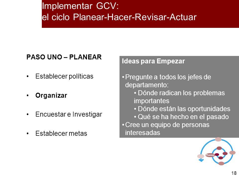 18 PASO UNO – PLANEAR Establecer políticas Organizar Encuestar e Investigar Establecer metas Ideas para Empezar Pregunte a todos los jefes de departam