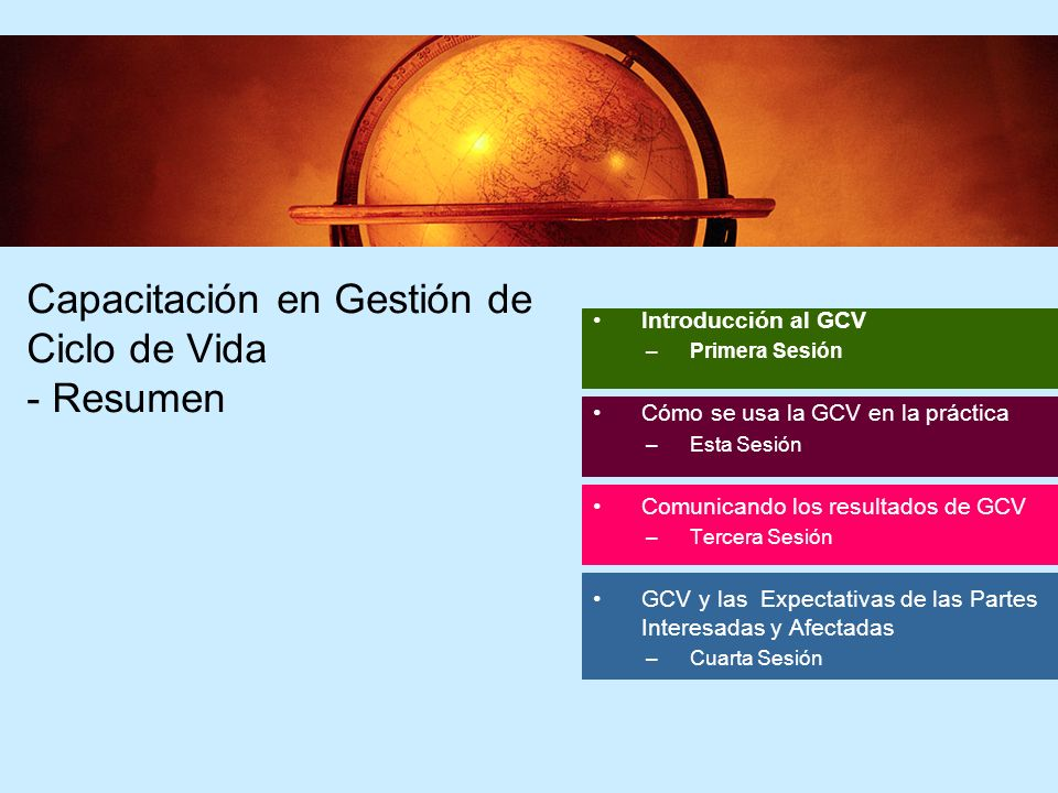 2 2 Introducción al GCV –Primera Sesión Cómo se usa la GCV en la práctica –Esta Sesión Comunicando los resultados de GCV –Tercera Sesión GCV y las Exp