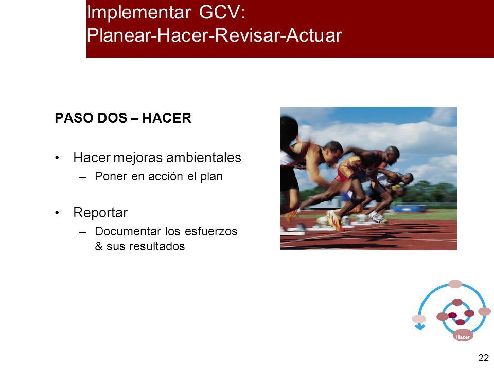 22 PASO DOS – HACER Hacer mejoras ambientales –Poner en acción el plan Reportar –Documentar los esfuerzos & sus resultados Hacer Implementar GCV: Plan