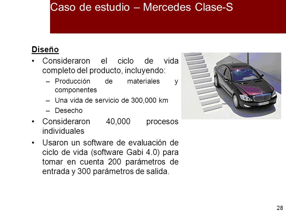 28 Caso de estudio – Mercedes Clase-S Diseño Consideraron el ciclo de vida completo del producto, incluyendo: –Producción de materiales y componentes