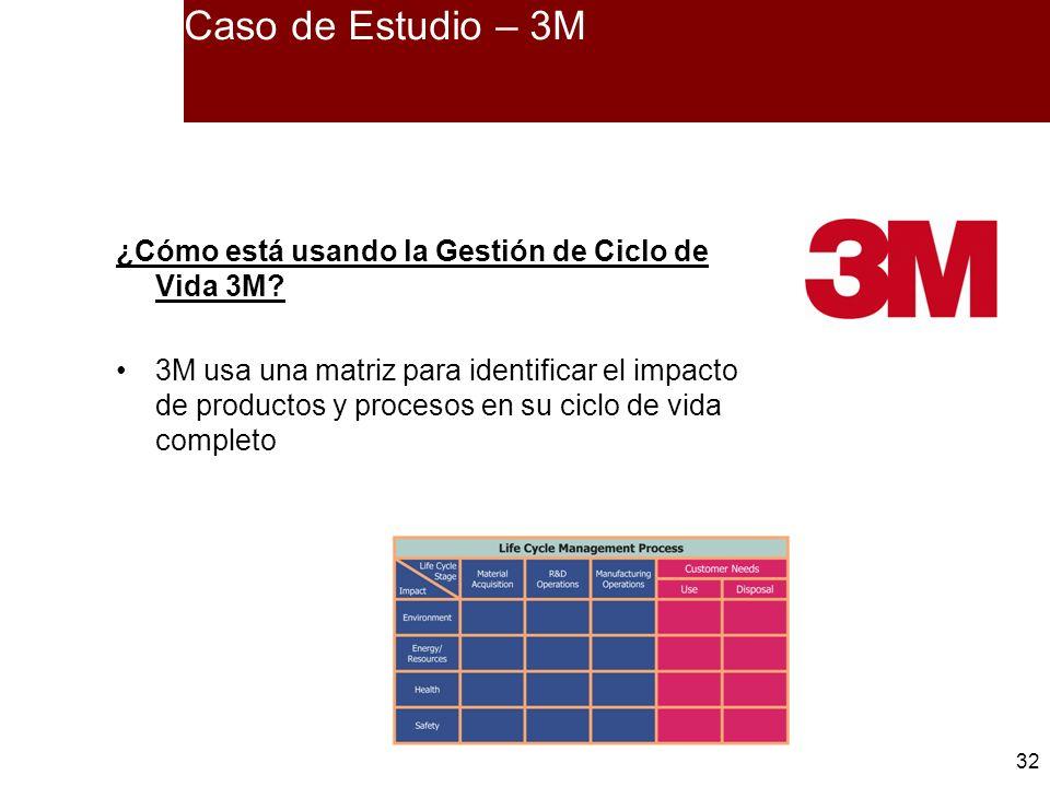 32 Caso de Estudio – 3M ¿Cómo está usando la Gestión de Ciclo de Vida 3M? 3M usa una matriz para identificar el impacto de productos y procesos en su