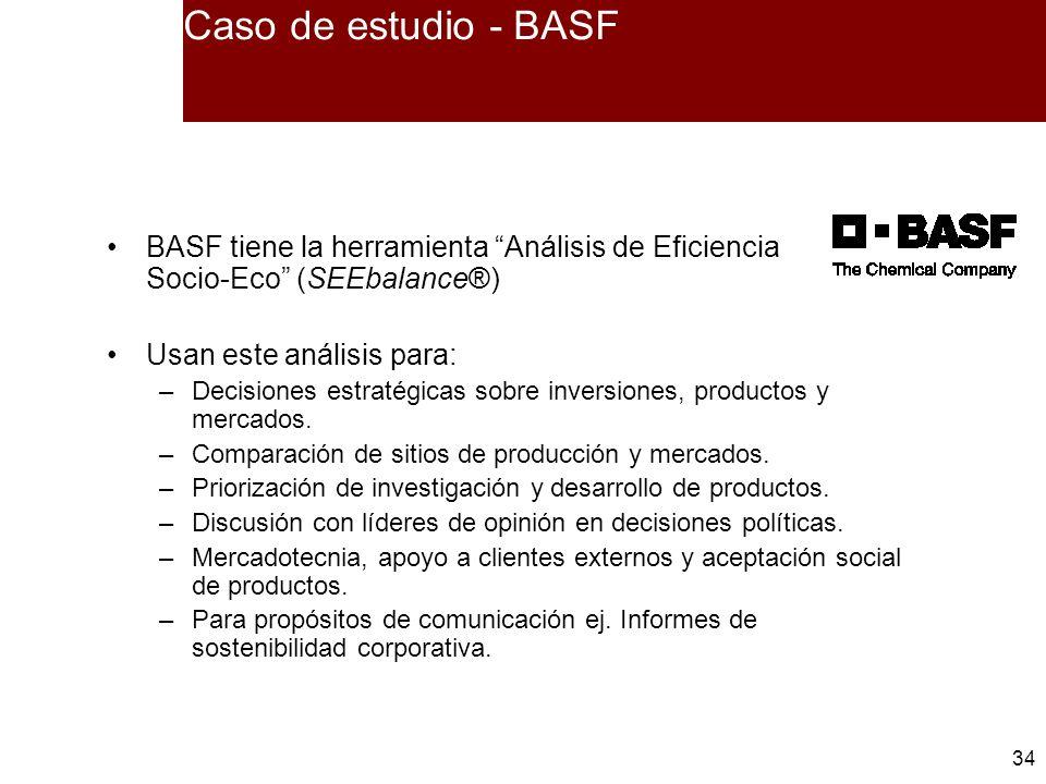 34 Caso de estudio - BASF BASF tiene la herramienta Análisis de Eficiencia Socio-Eco (SEEbalance®) Usan este análisis para: –Decisiones estratégicas s