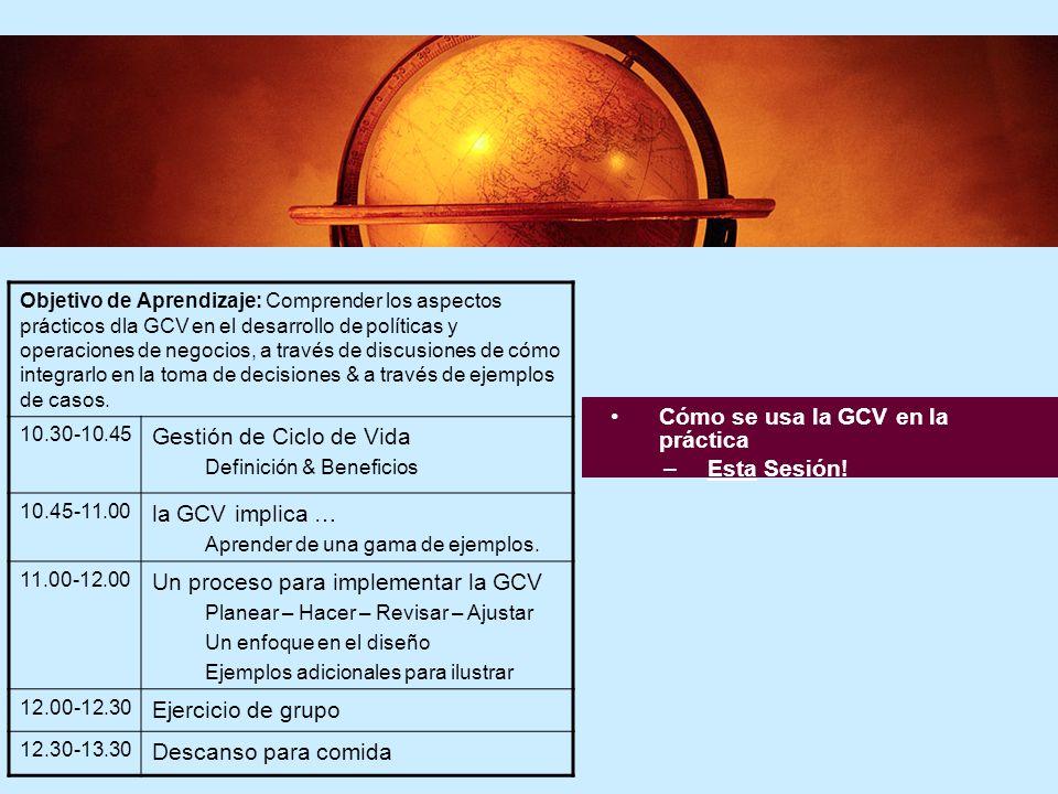4 4 Cómo se usa la GCV en la práctica –Esta Sesión! Objetivo de Aprendizaje: Comprender los aspectos prácticos dla GCV en el desarrollo de políticas y