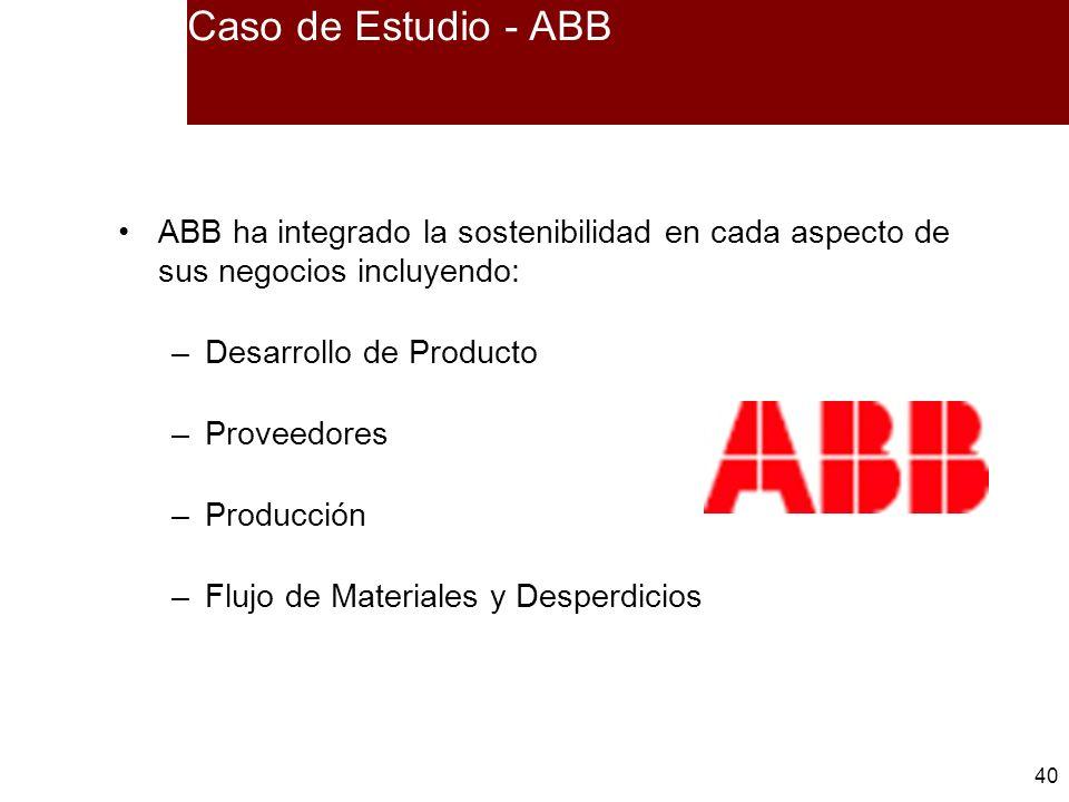 40 ABB ha integrado la sostenibilidad en cada aspecto de sus negocios incluyendo: –Desarrollo de Producto –Proveedores –Producción –Flujo de Materiale