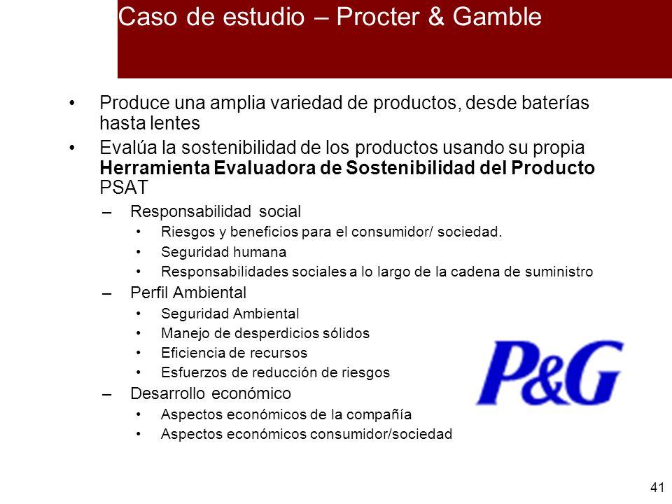 41 Caso de estudio – Procter & Gamble Produce una amplia variedad de productos, desde baterías hasta lentes Evalúa la sostenibilidad de los productos
