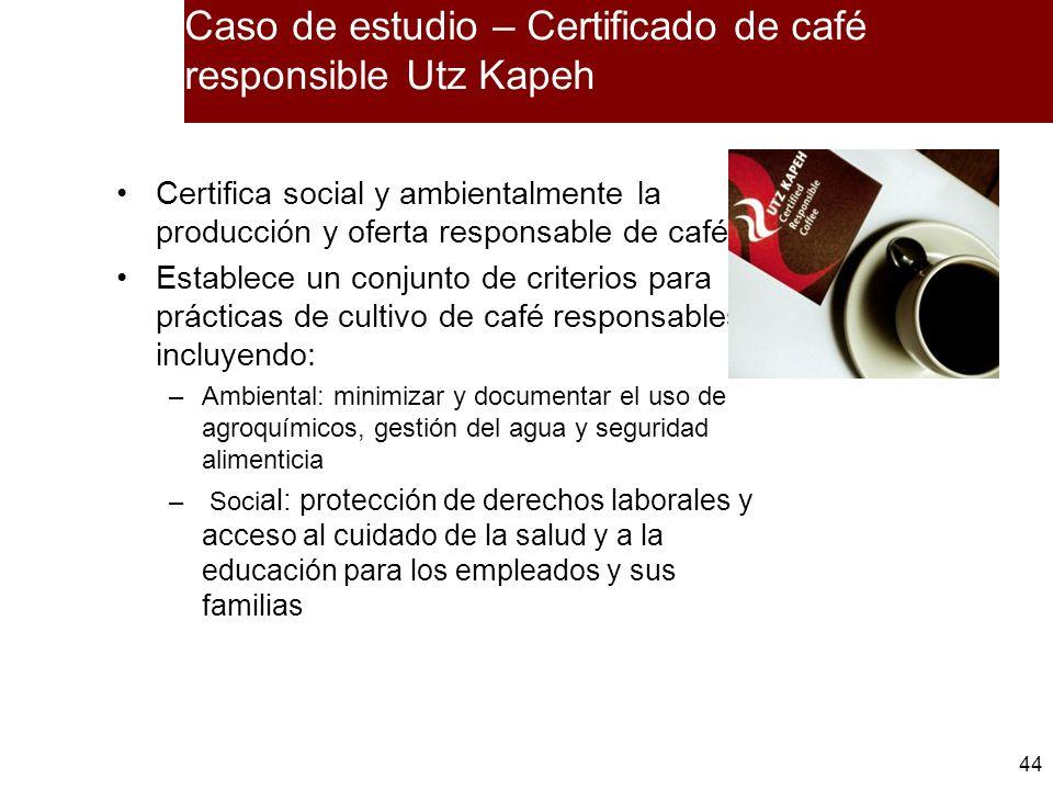 44 Caso de estudio – Certificado de café responsible Utz Kapeh Certifica social y ambientalmente la producción y oferta responsable de café Establece