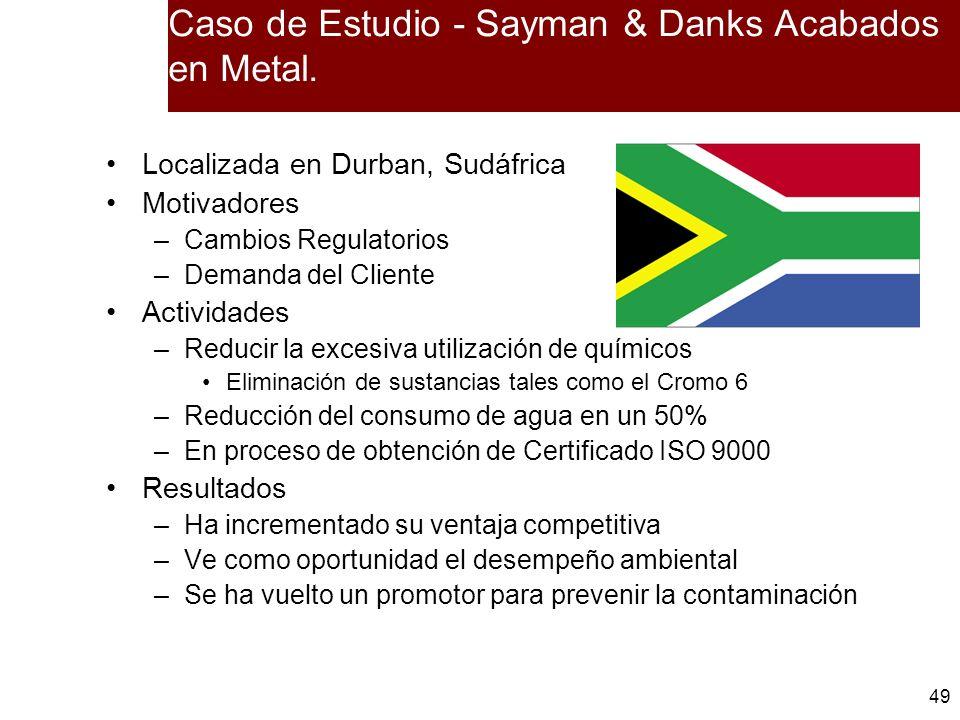 49 Caso de Estudio - Sayman & Danks Acabados en Metal. Localizada en Durban, Sudáfrica Motivadores –Cambios Regulatorios –Demanda del Cliente Activida