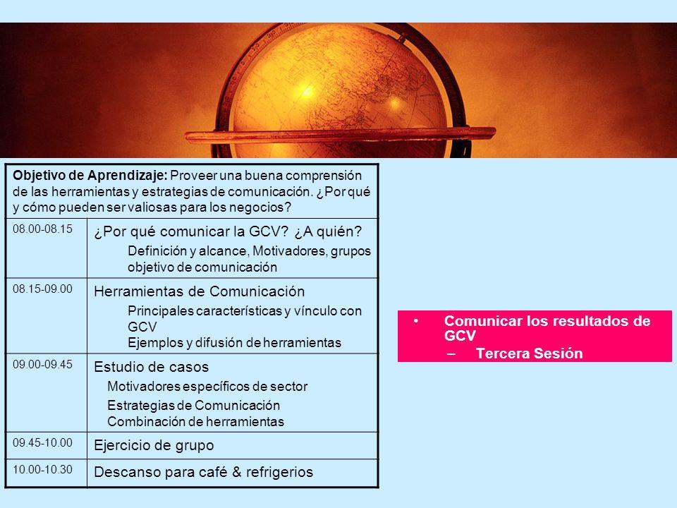 5 5 Comunicar los resultados de GCV –Tercera Sesión Objetivo de Aprendizaje: Proveer una buena comprensión de las herramientas y estrategias de comuni