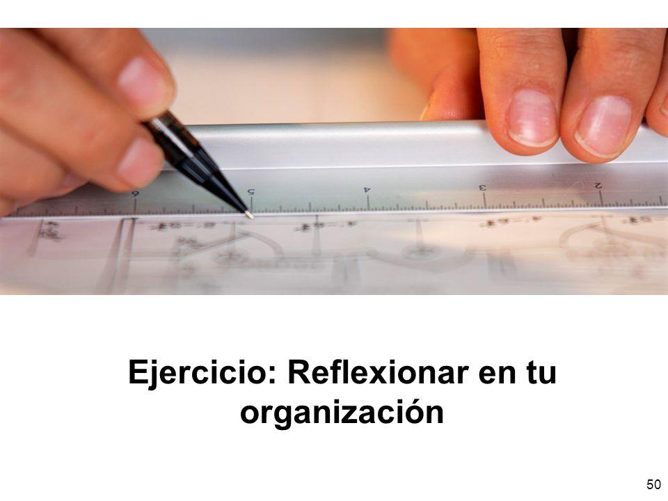 50 Ejercicio: Reflexionar en tu organización