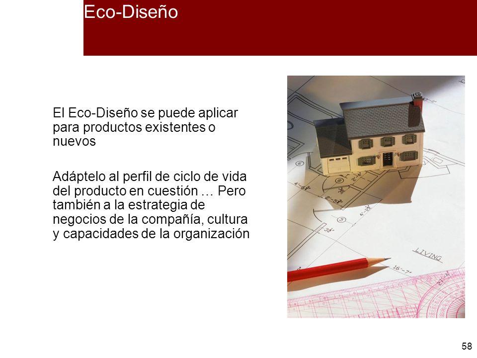 58 Eco-Diseño El Eco-Diseño se puede aplicar para productos existentes o nuevos Adáptelo al perfil de ciclo de vida del producto en cuestión … Pero ta