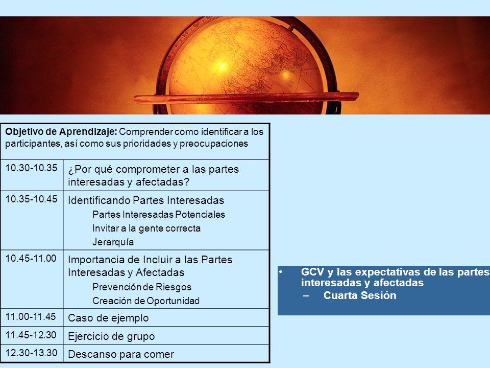 6 6 GCV y las expectativas de las partes interesadas y afectadas –Cuarta Sesión Objetivo de Aprendizaje: Comprender como identificar a los participant