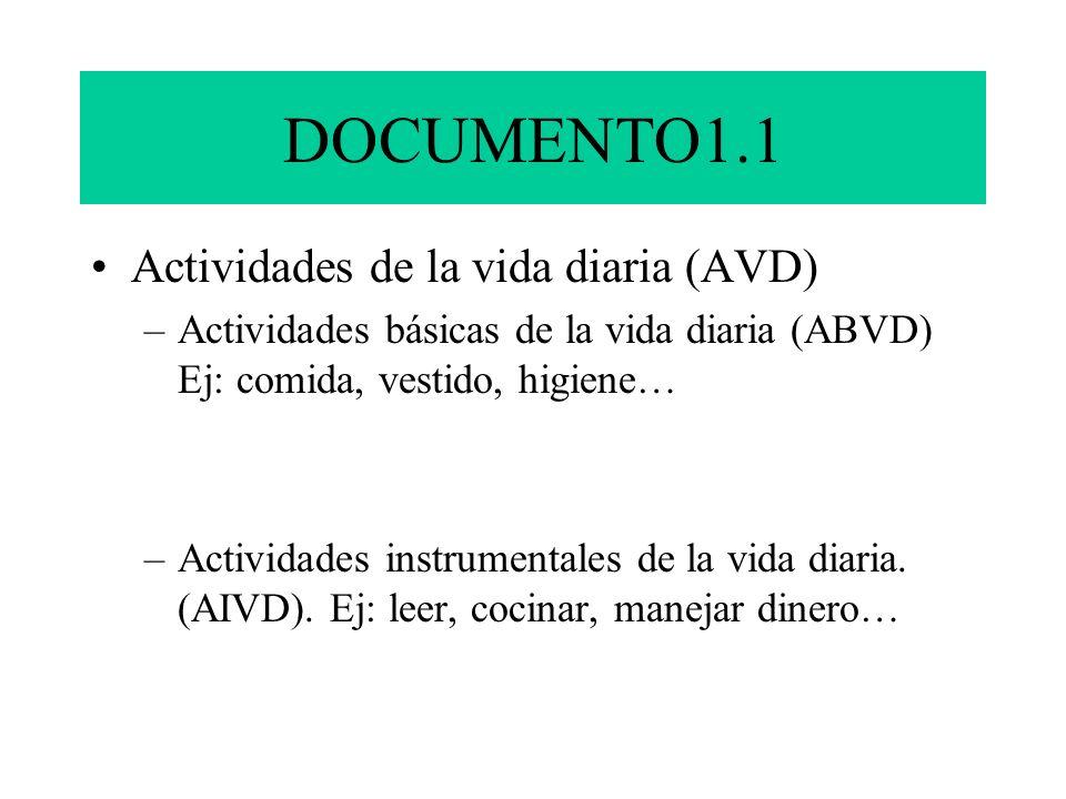 DOCUMENTO1.1 Actividades de la vida diaria (AVD) –Actividades básicas de la vida diaria (ABVD) Ej: comida, vestido, higiene… –Actividades instrumental