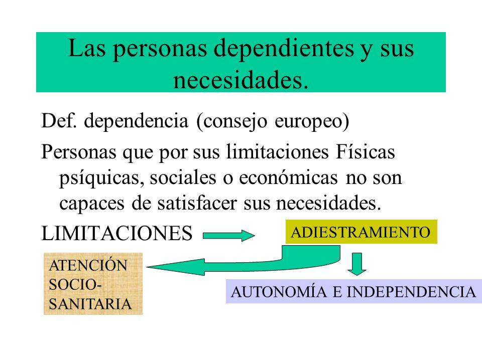 Las personas dependientes y sus necesidades. Def. dependencia (consejo europeo) Personas que por sus limitaciones Físicas psíquicas, sociales o económ