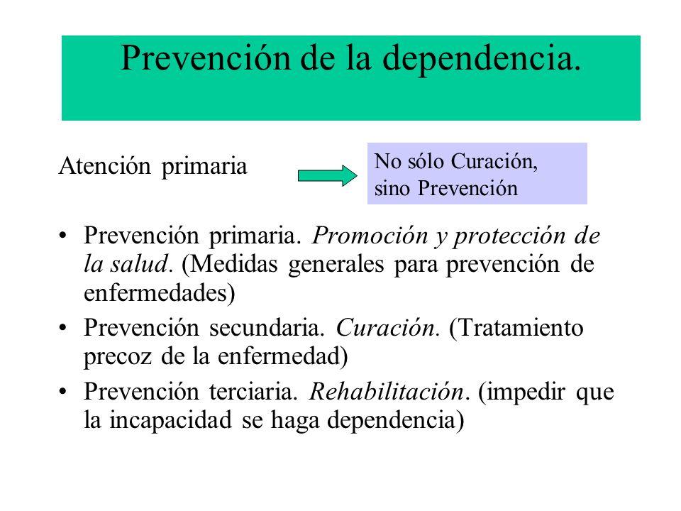 Prevención de la dependencia. Atención primaria Prevención primaria. Promoción y protección de la salud. (Medidas generales para prevención de enferme