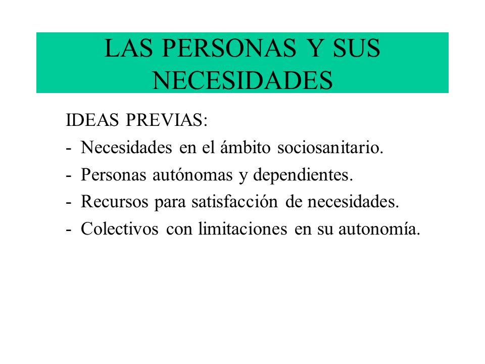 LAS PERSONAS Y SUS NECESIDADES IDEAS PREVIAS: -Necesidades en el ámbito sociosanitario. -Personas autónomas y dependientes. -Recursos para satisfacció