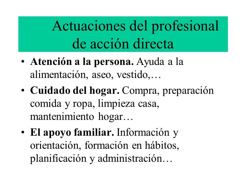 Actuaciones del profesional de acción directa Atención a la persona. Ayuda a la alimentación, aseo, vestido,… Cuidado del hogar. Compra, preparación c