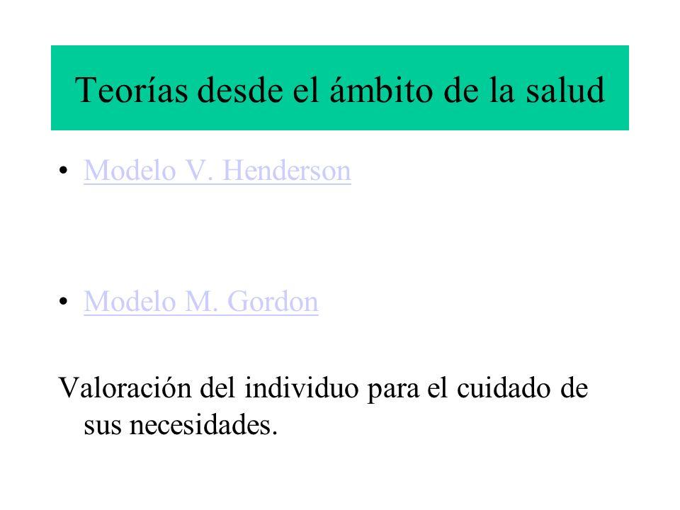 Teorías desde el ámbito de la salud Modelo V. Henderson Modelo M. Gordon Valoración del individuo para el cuidado de sus necesidades.