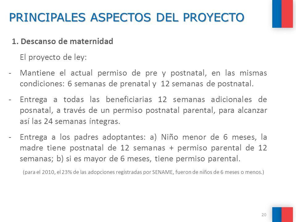 PRINCIPALES ASPECTOS DEL PROYECTO 1. Descanso de maternidad El proyecto de ley: -Mantiene el actual permiso de pre y postnatal, en las mismas condicio